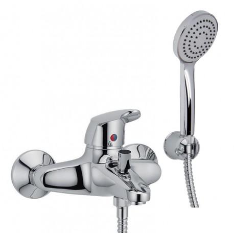 SERIE 2 - Miscelatore vasca esterno con set doccia Cromo