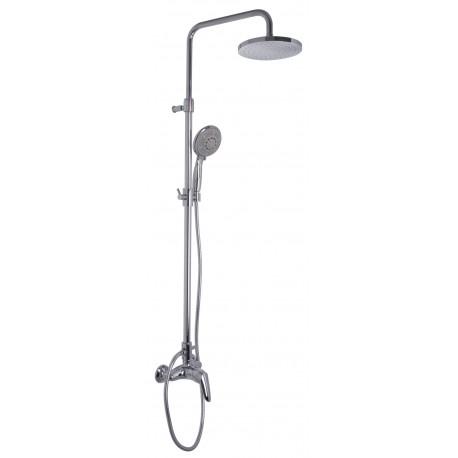 SERIE 2 - Miscelatore doccia esterno con colonna doccia soffione e doccetta cromo